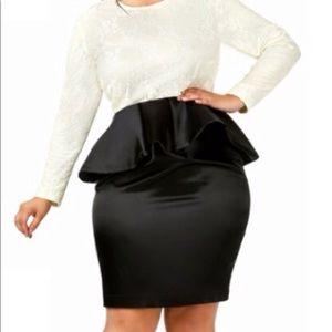 Monif C Off White & Black Peplum Dress 3X 22/24